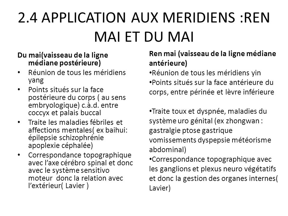 2.4 APPLICATION AUX MERIDIENS :REN MAI ET DU MAI Du mai(vaisseau de la ligne médiane postérieure) Réunion de tous les méridiens yang Points situés sur