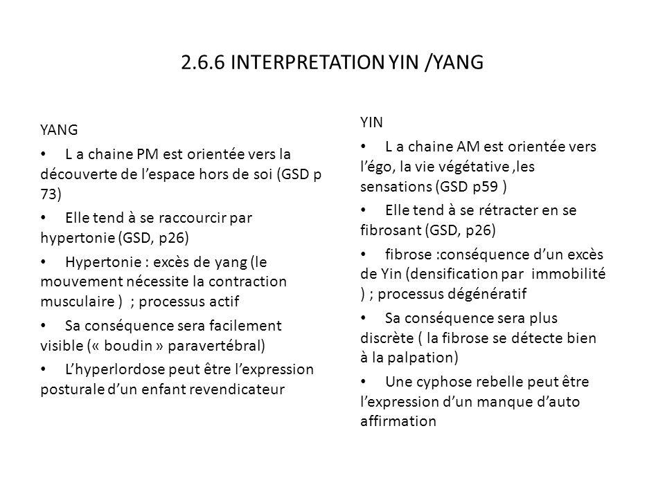 2.6.6 INTERPRETATION YIN /YANG YANG L a chaine PM est orientée vers la découverte de l'espace hors de soi (GSD p 73) Elle tend à se raccourcir par hyp