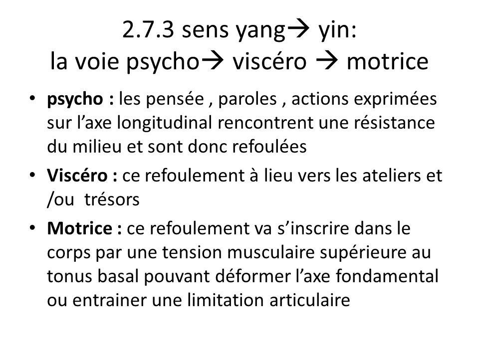 2.7.3 sens yang  yin: la voie psycho  viscéro  motrice psycho : les pensée, paroles, actions exprimées sur l'axe longitudinal rencontrent une résis