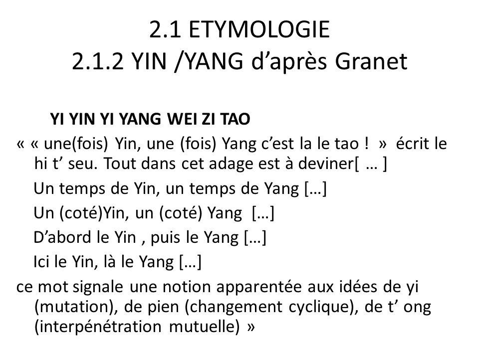 2.1 ETYMOLOGIE 2.1.2 YIN /YANG d'après Granet YI YIN YI YANG WEI ZI TAO « « une(fois) Yin, une (fois) Yang c'est la le tao ! » écrit le hi t' seu. Tou