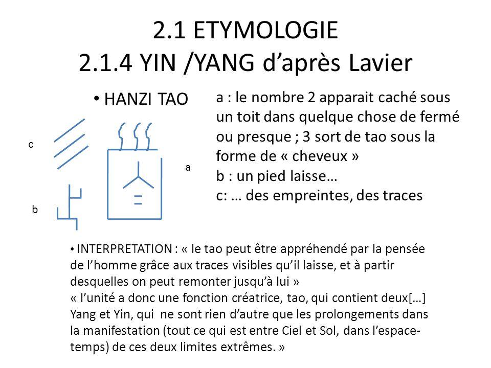 2.1 ETYMOLOGIE 2.1.4 YIN /YANG d'après Lavier « deux reste inclus dans le tao et n'en sort jamais, car aussitôt que les deux termes existent, ils sont immédiatement unis par leur rapport, qui ajoute la complémentarité à leur opposition : Yang + Yin +leur rapport = 3 C'est par la que yang et Yin ne peuvent ni exister, ni même être conçus séparément l'un de l'autre, et dire yang-yin ou yin-yang, c'est exprimer nécessairement un ternaire»