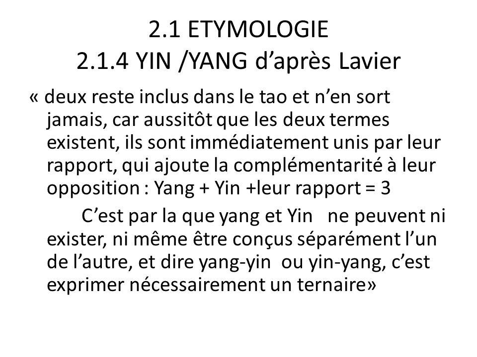 2.1 ETYMOLOGIE 2.1.4 YIN /YANG d'après Lavier « c'est donc seulement à partir du ternaire qu'on peut valablement parler de manifestation, Un et Deux n'étant que l'origine non manifestée de celle-ci et constituant le domaine de la métaphysique » chen a : deux produit a b : trois (vertical comme b les cheveux du tao) c : deux mains autour d'un axe c vertical :yang + yin + leur union