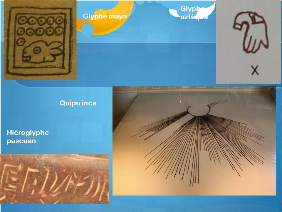 Glyphe maya Glyphe aztèque Hiéroglyphe pascuan Quipu inca