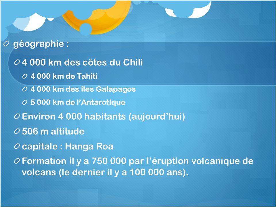 géographie : 4 000 km des côtes du Chili 4 000 km de Tahiti 4 000 km des îles Galapagos 5 000 km de l'Antarctique Environ 4 000 habitants (aujourd'hui
