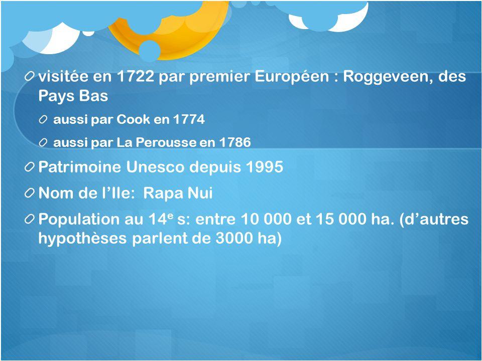 visitée en 1722 par premier Européen : Roggeveen, des Pays Bas aussi par Cook en 1774 aussi par La Perousse en 1786 Patrimoine Unesco depuis 1995 Nom