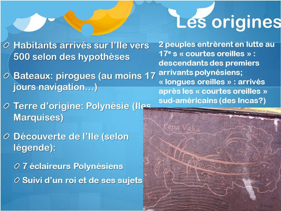 Les origines Habitants arrivés sur l'Ile vers 500 selon des hypothèses Bateaux: pirogues (au moins 17 jours navigation…) Terre d'origine: Polynésie (I