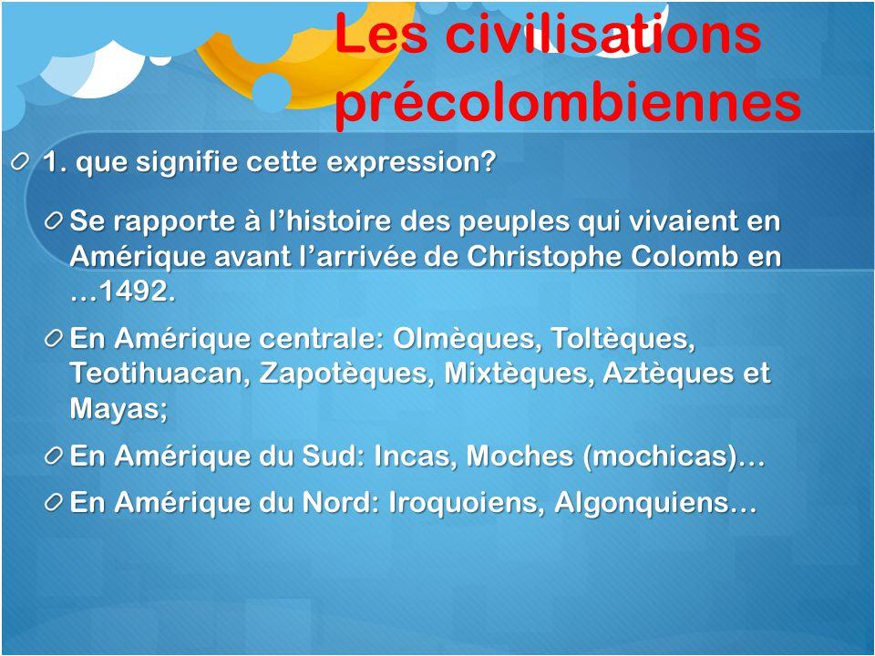 Les civilisations précolombiennes 1. que signifie cette expression? Se rapporte à l'histoire des peuples qui vivaient en Amérique avant l'arrivée de C