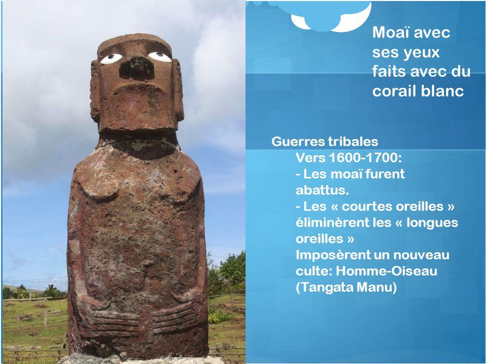 Moaï avec ses yeux faits avec du corail blanc Guerres tribales Vers 1600-1700: - Les moaï furent abattus. - Les « courtes oreilles » éliminèrent les «
