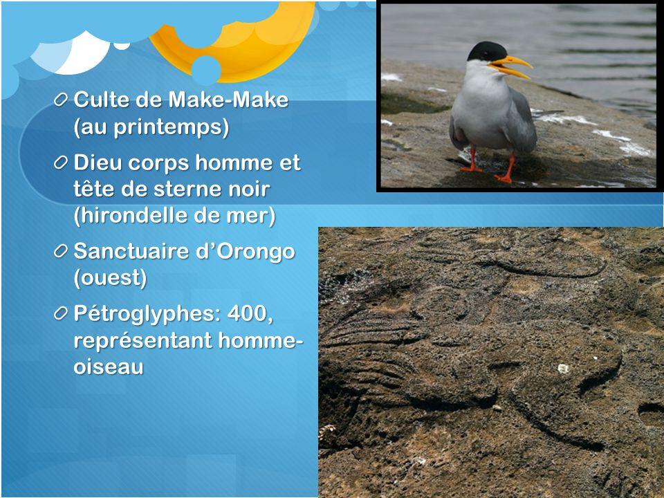 Culte de Make-Make (au printemps) Dieu corps homme et tête de sterne noir (hirondelle de mer) Sanctuaire d'Orongo (ouest) Pétroglyphes: 400, représent