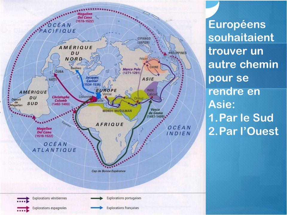 Européens souhaitaient trouver un autre chemin pour se rendre en Asie: 1.Par le Sud 2.Par l'Ouest