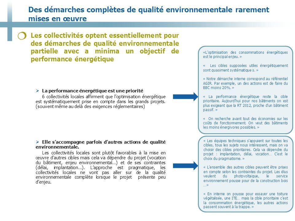 Des démarches complètes de qualité environnementale rarement mises en œuvre 10 Les collectivités optent essentiellement pour des démarches de qualité environnementale partielle avec a minima un objectif de performance énergétique   La performance énergétique est une priorité 6 collectivités locales affirment que l'optimisation énergétique est systématiquement prise en compte dans les grands projets.