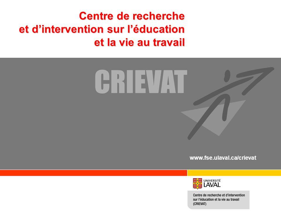 Centre de recherche et d'intervention sur l'éducation et la vie au travail www.fse.ulaval.ca/crievat