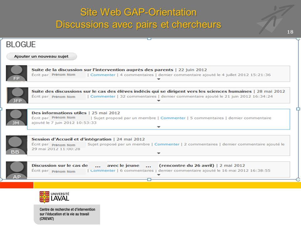 Site Web GAP-Orientation Discussions avec pairs et chercheurs 18