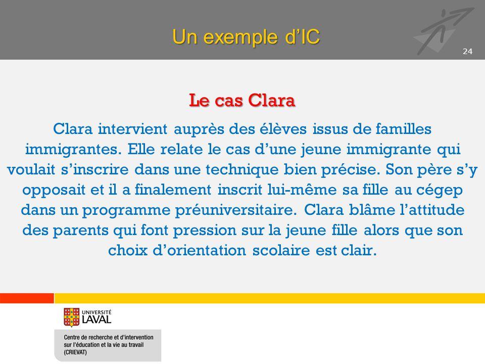 Un exemple d'IC Le cas Clara Clara intervient auprès des élèves issus de familles immigrantes. Elle relate le cas d'une jeune immigrante qui voulait s
