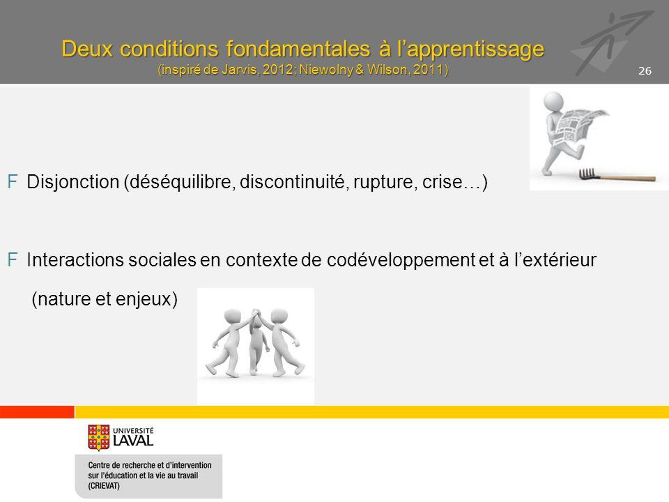 Deux conditions fondamentales à l'apprentissage (inspiré de Jarvis, 2012; Niewolny & Wilson, 2011) FDisjonction (déséquilibre, discontinuité, rupture,