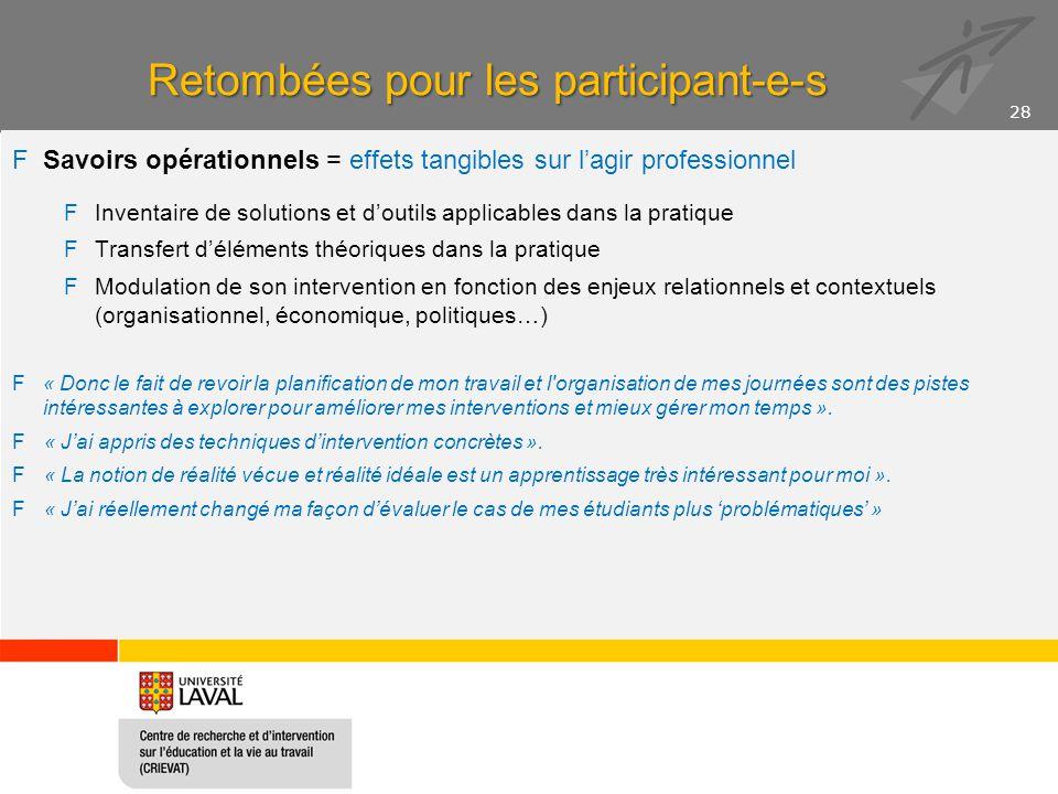 Retombées pour les participant-e-s FSavoirs opérationnels = effets tangibles sur l'agir professionnel FInventaire de solutions et d'outils applicables