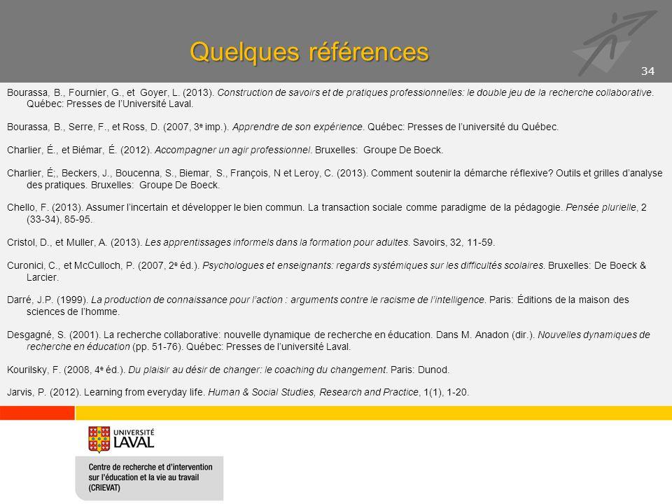 Quelques références Bourassa, B., Fournier, G., et Goyer, L. (2013). Construction de savoirs et de pratiques professionnelles: le double jeu de la rec