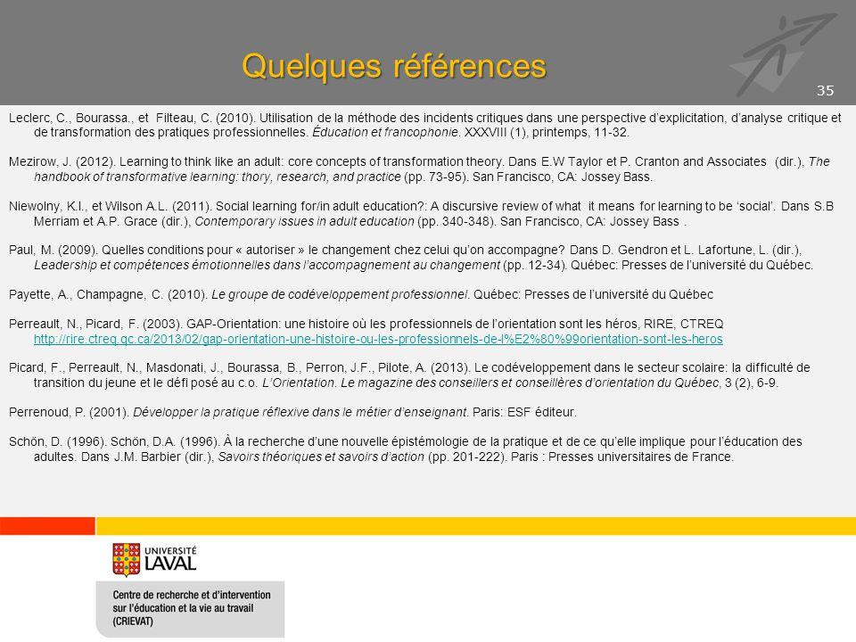 Quelques références Leclerc, C., Bourassa., et Filteau, C. (2010). Utilisation de la méthode des incidents critiques dans une perspective d'explicitat