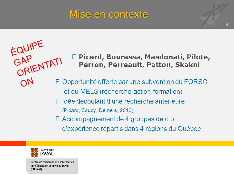 Mise en contexte FPicard, Bourassa, Masdonati, Pilote, Perron, Perreault, Patton, Skakni FOpportunité offerte par une subvention du FQRSC et du MELS (