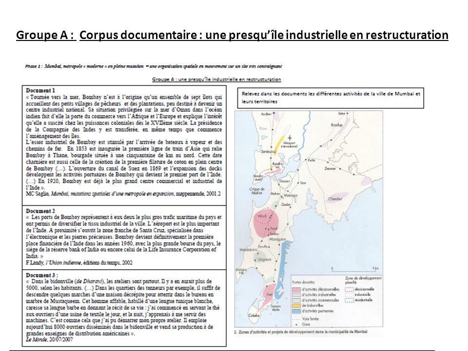 Groupe A : Corpus documentaire : une presqu'île industrielle en restructuration