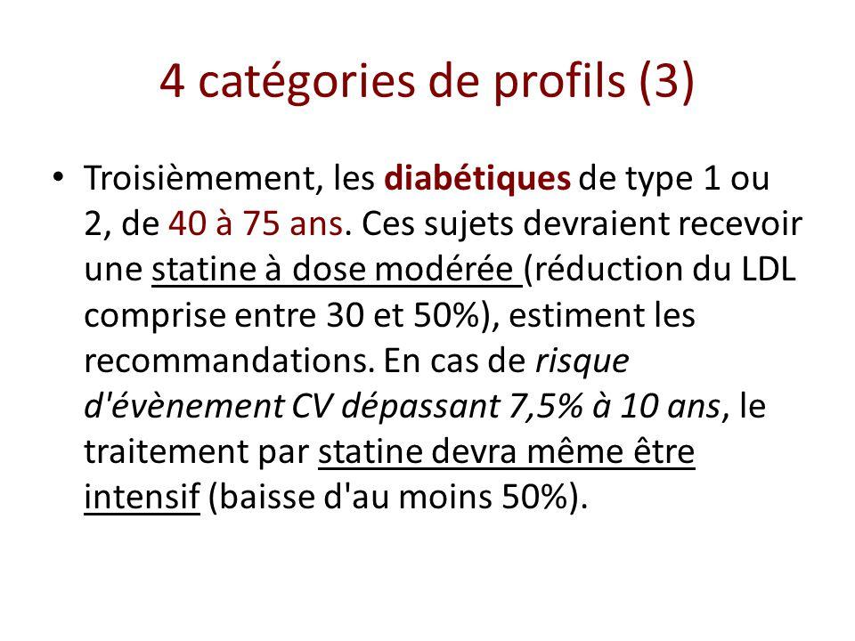 4 catégories de profils (3) Troisièmement, les diabétiques de type 1 ou 2, de 40 à 75 ans. Ces sujets devraient recevoir une statine à dose modérée (r