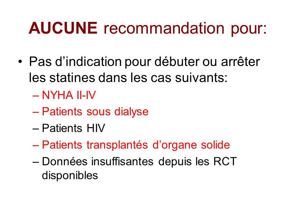 AUCUNE recommandation pour: Pas d'indication pour débuter ou arrêter les statines dans les cas suivants: –NYHA II-IV –Patients sous dialyse –Patients