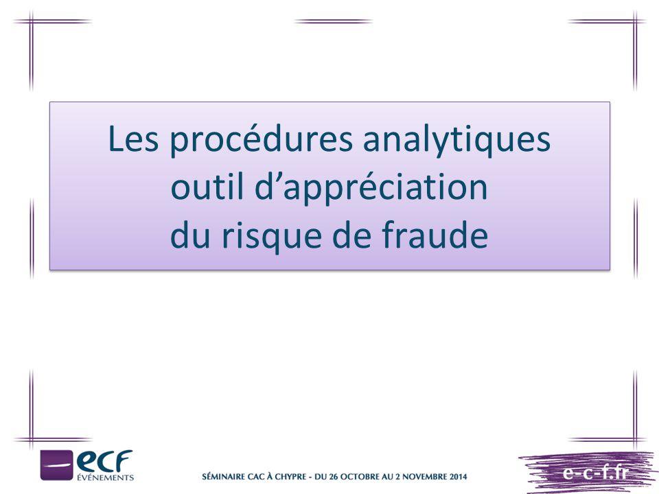 Les procédures analytiques outil d'appréciation du risque de fraude