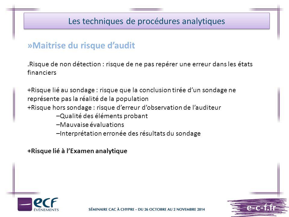 Les techniques de procédures analytiques »Maitrise du risque d'audit.Risque de non détection : risque de ne pas repérer une erreur dans les états fina