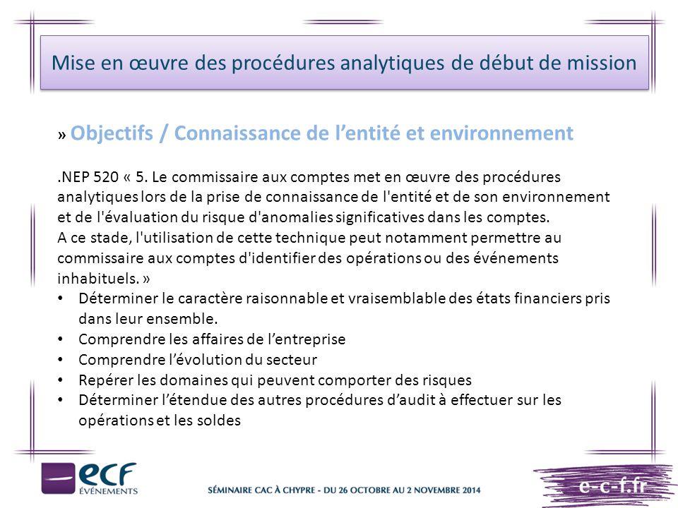 Mise en œuvre des procédures analytiques de début de mission » Objectifs / Connaissance de l'entité et environnement.NEP 520 « 5. Le commissaire aux c