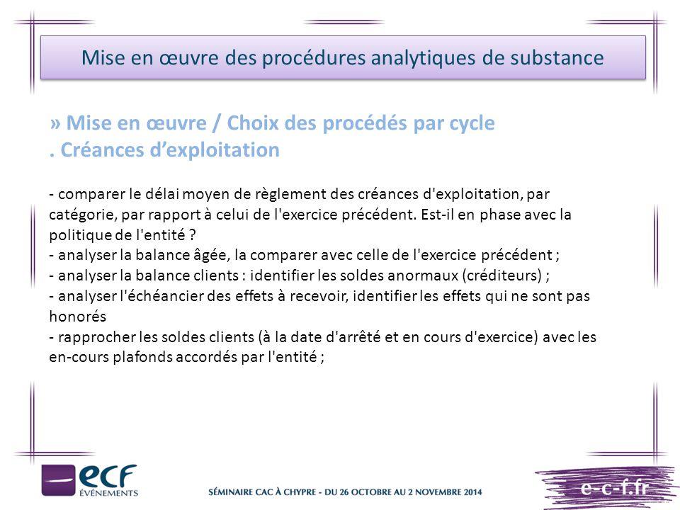 Mise en œuvre des procédures analytiques de substance » Mise en œuvre / Choix des procédés par cycle. Créances d'exploitation - comparer le délai moye