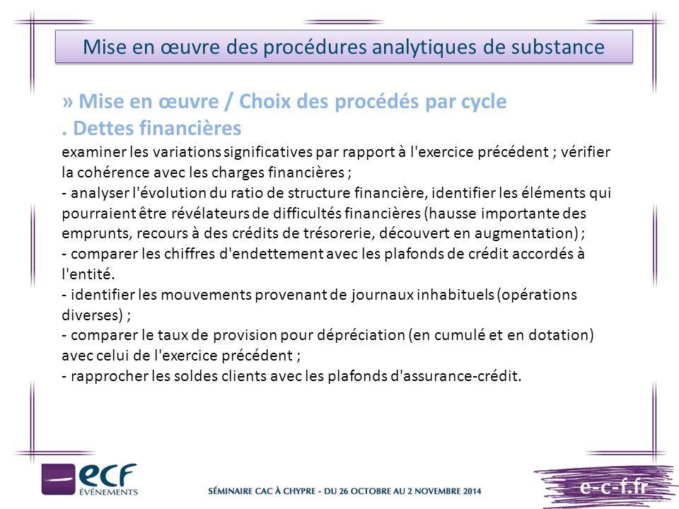 Mise en œuvre des procédures analytiques de substance » Mise en œuvre / Choix des procédés par cycle. Dettes financières examiner les variations signi
