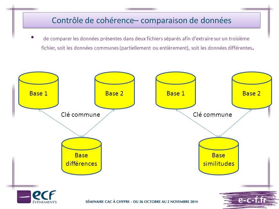 de comparer les données présentes dans deux fichiers séparés afin d'extraire sur un troisième fichier, soit les données communes (partiellement ou ent