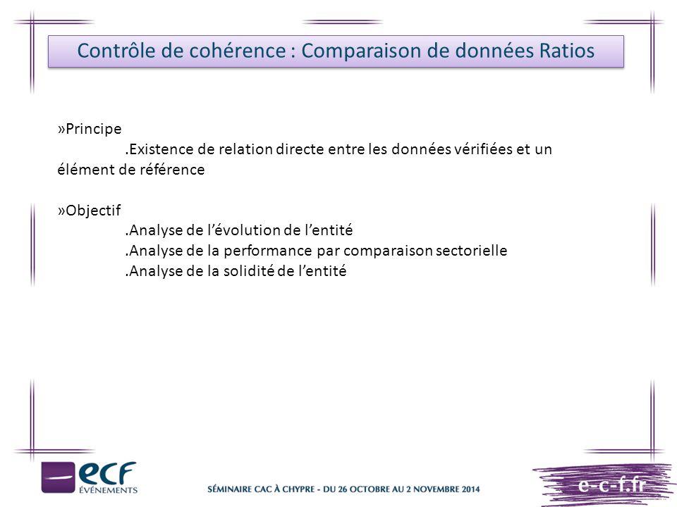 Contrôle de cohérence : Comparaison de données Ratios »Principe.Existence de relation directe entre les données vérifiées et un élément de référence »