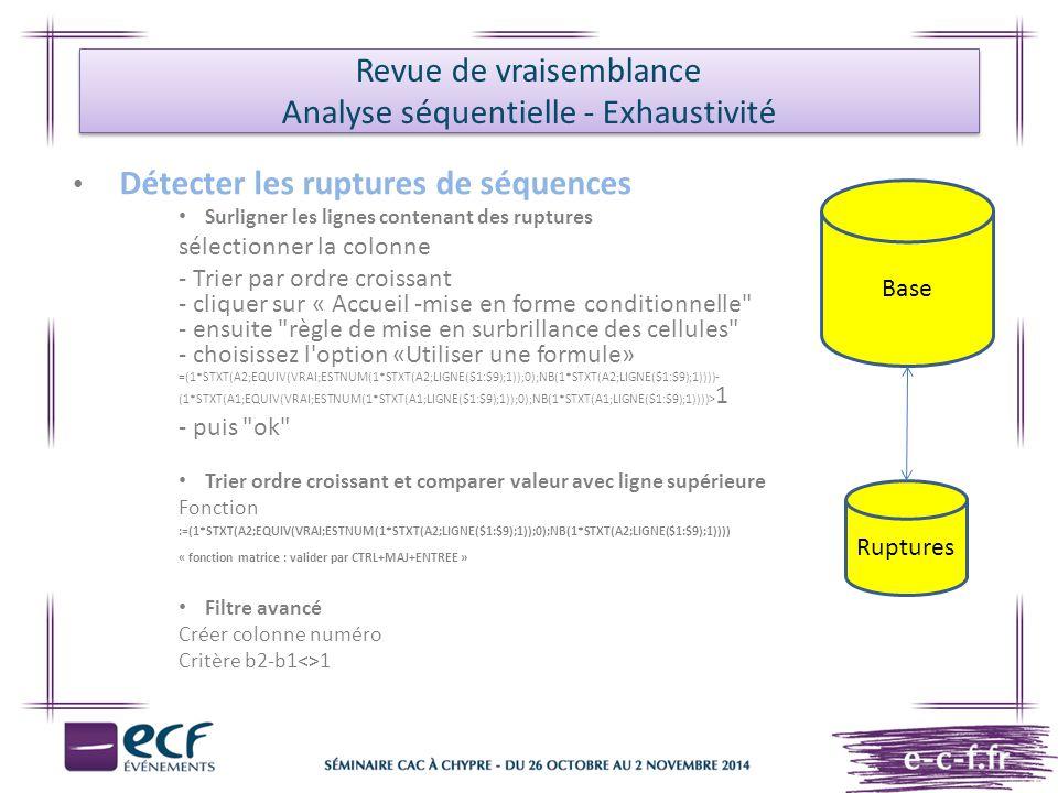 Détecter les ruptures de séquences Surligner les lignes contenant des ruptures sélectionner la colonne - Trier par ordre croissant - cliquer sur « Acc