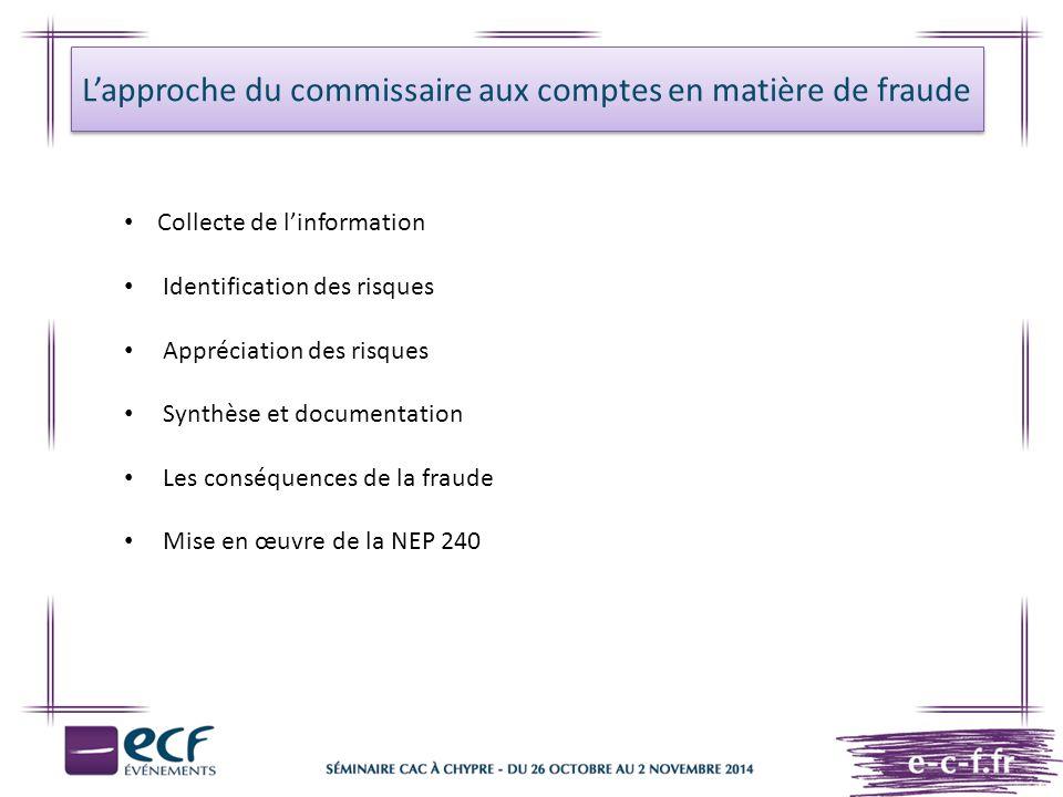 L'approche du commissaire aux comptes en matière de fraude Collecte de l'information Identification des risques Appréciation des risques Synthèse et d