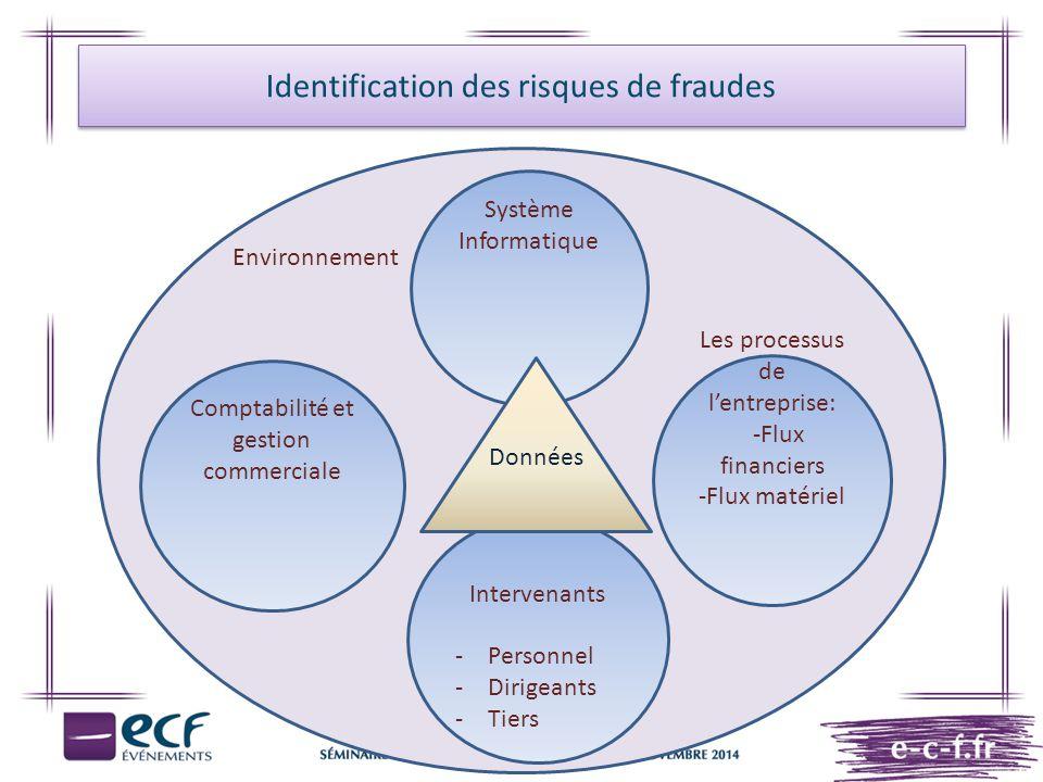 Identification des risques de fraudes Environnement Système Informatique Les processus de l'entreprise: -Flux financiers -Flux matériel Comptabilité e