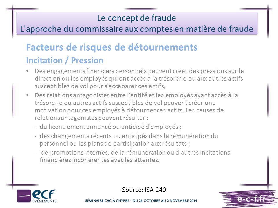 Le concept de fraude L'approche du commissaire aux comptes en matière de fraude Facteurs de risques de détournements Incitation / Pression Des engagem
