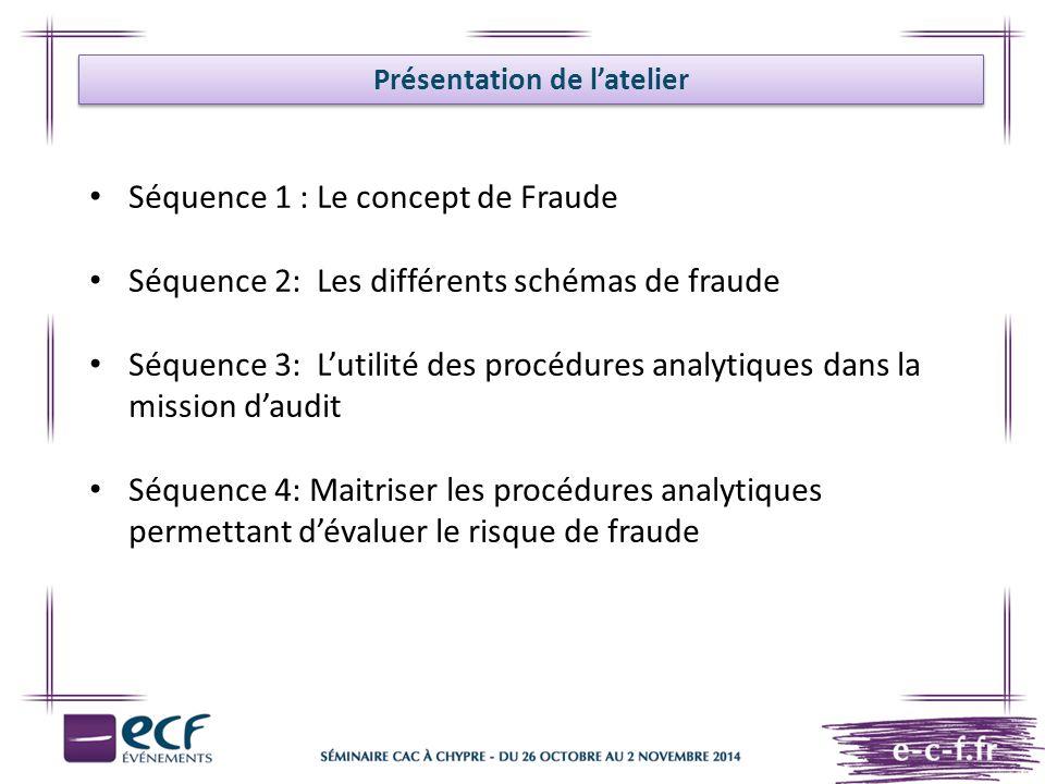 Présentation de l'atelier Séquence 1 : Le concept de Fraude Séquence 2: Les différents schémas de fraude Séquence 3: L'utilité des procédures analytiq