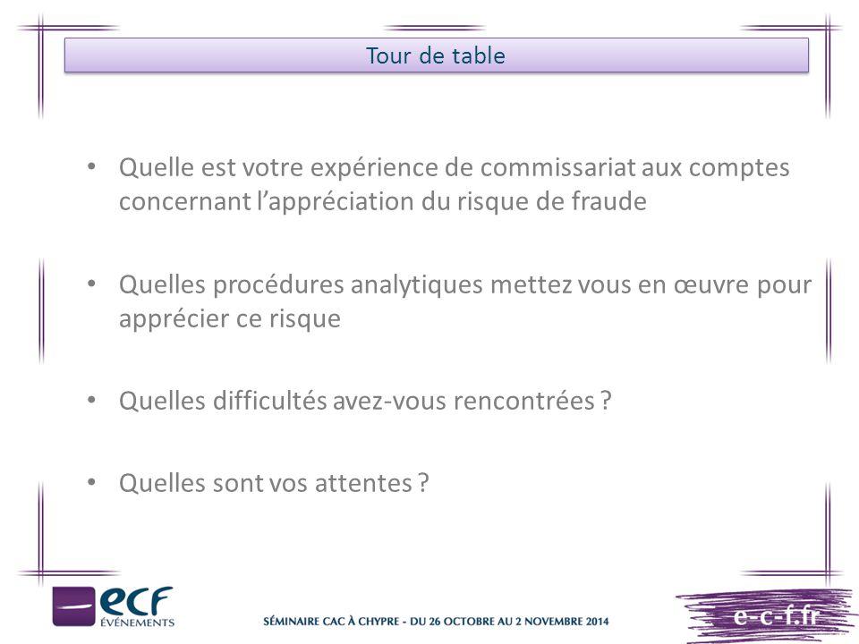 Tour de table Quelle est votre expérience de commissariat aux comptes concernant l'appréciation du risque de fraude Quelles procédures analytiques met