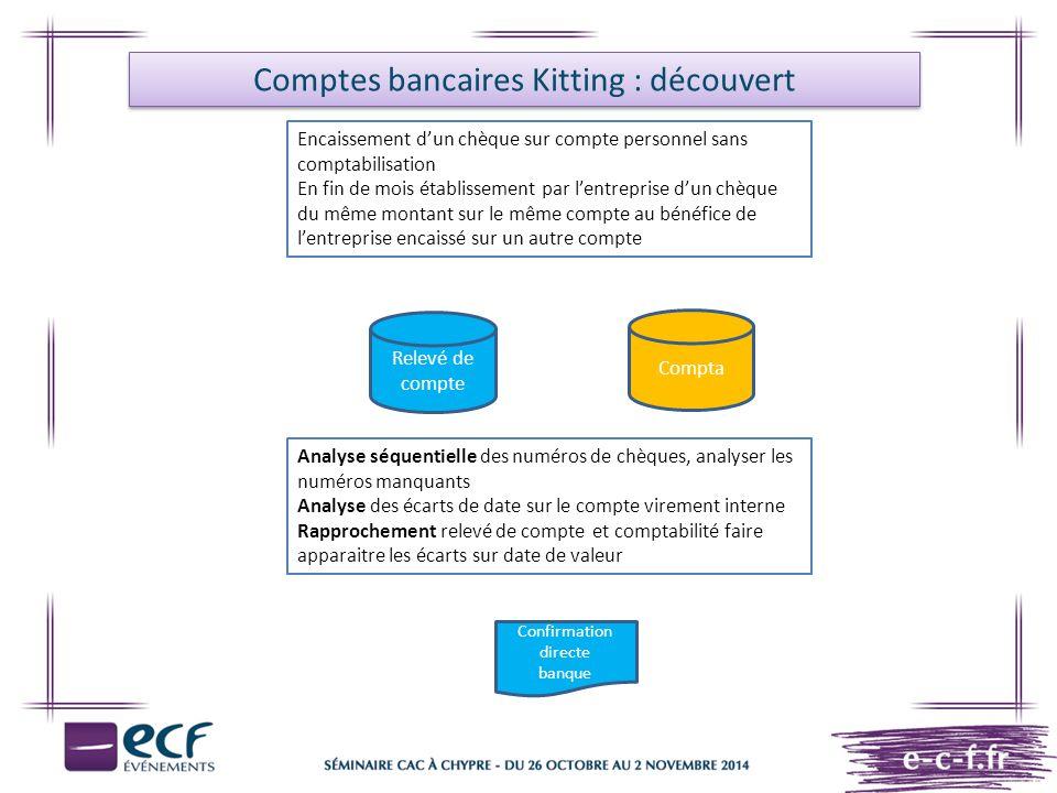 Comptes bancaires Kitting : découvert Encaissement d'un chèque sur compte personnel sans comptabilisation En fin de mois établissement par l'entrepris