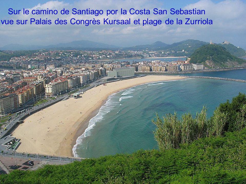 San Sébastian/Donostia vue sur le port et le Mont Urgull avec le Sagrado Corazon