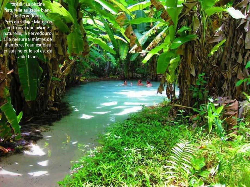 Brésil : La piscine naturelle au sable blanc de Fervedouro Près du village Mateiros se trouve une piscine naturelle, la Fervedouro. Elle mesure 8 mètr