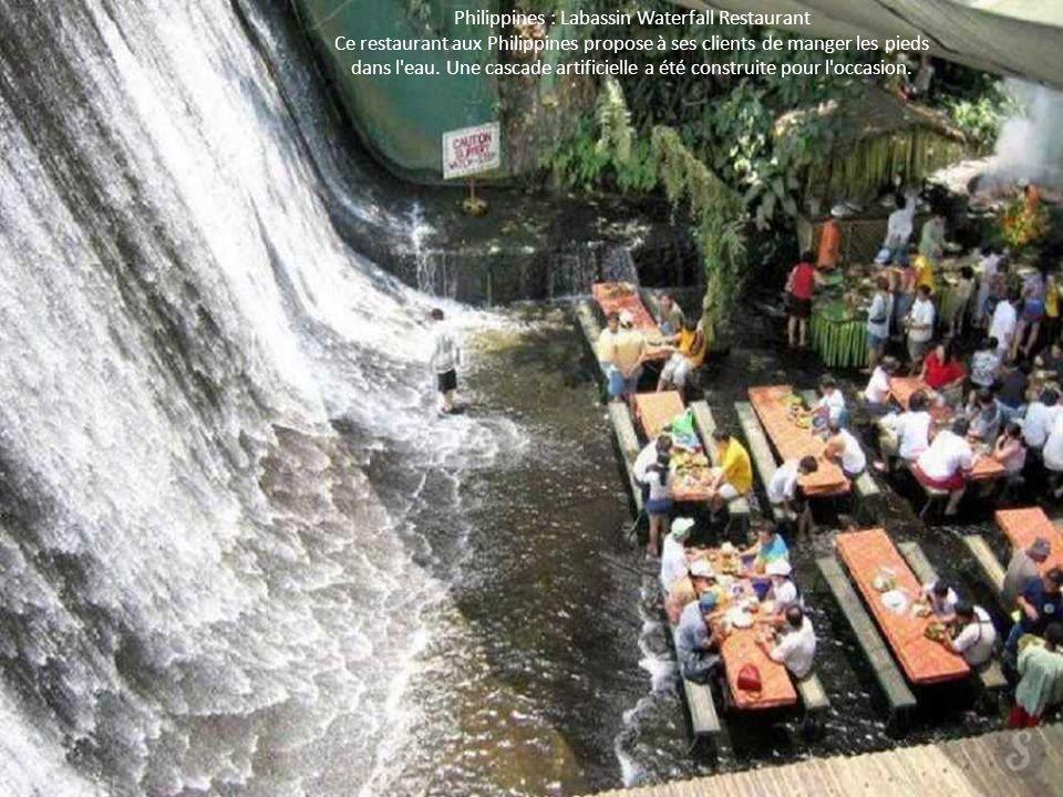 Philippines : Labassin Waterfall Restaurant Ce restaurant aux Philippines propose à ses clients de manger les pieds dans l'eau. Une cascade artificiel