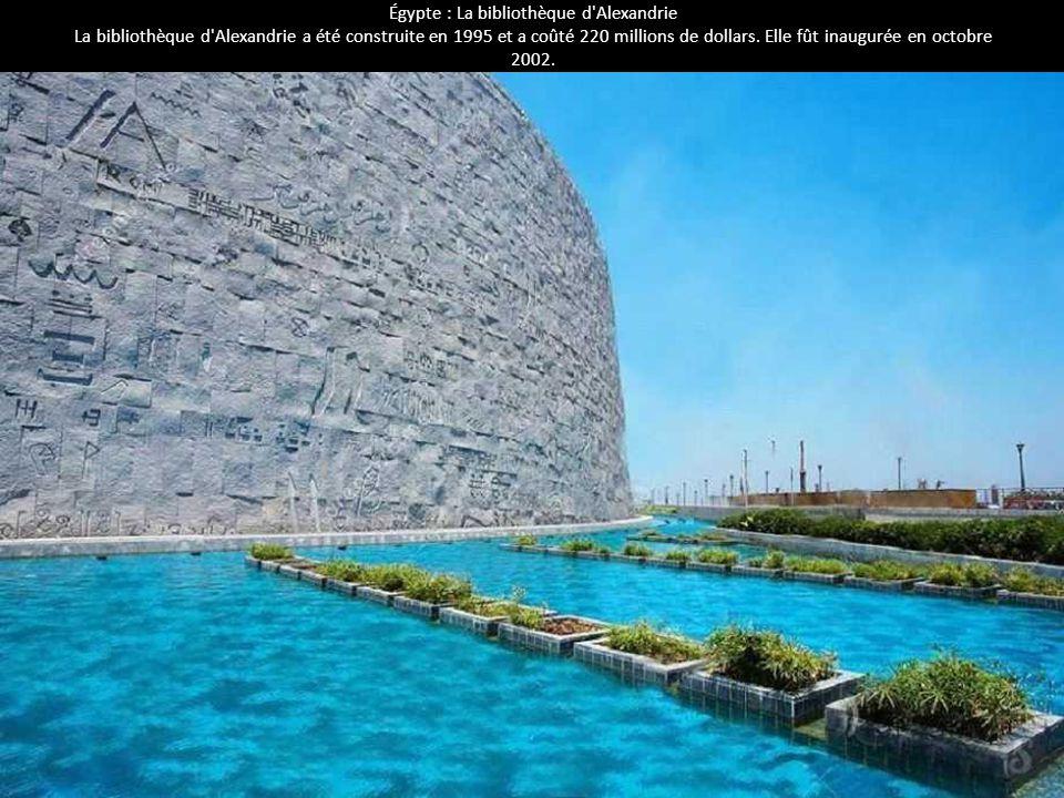 Égypte : La bibliothèque d'Alexandrie La bibliothèque d'Alexandrie a été construite en 1995 et a coûté 220 millions de dollars. Elle fût inaugurée en