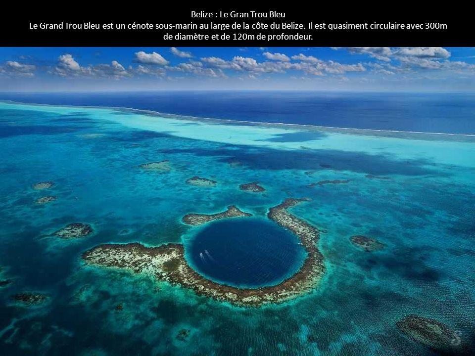 Belize : Le Gran Trou Bleu Le Grand Trou Bleu est un cénote sous-marin au large de la côte du Belize. Il est quasiment circulaire avec 300m de diamètr