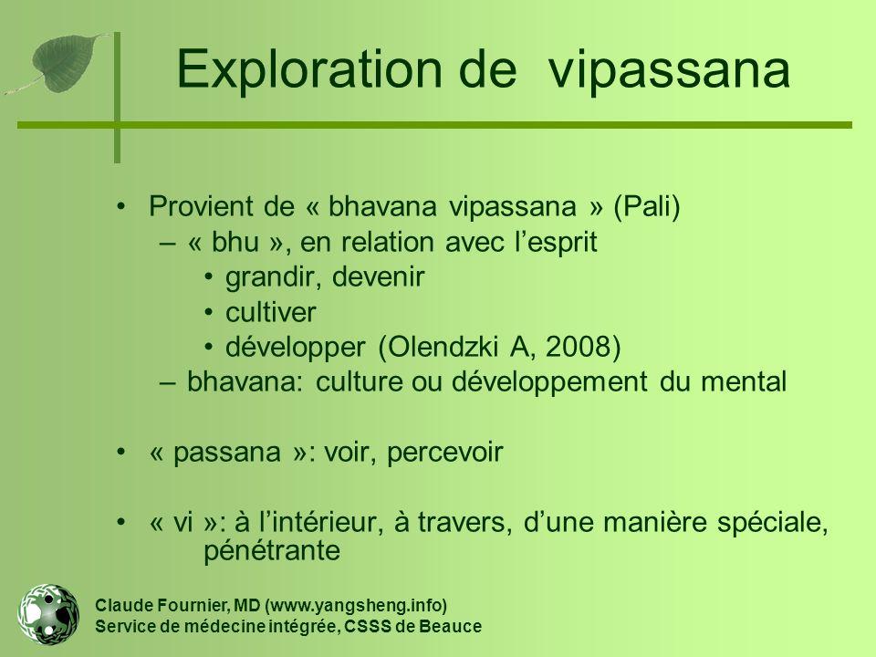 Exploration de vipassana Provient de « bhavana vipassana » (Pali) –« bhu », en relation avec l'esprit grandir, devenir cultiver développer (Olendzki A