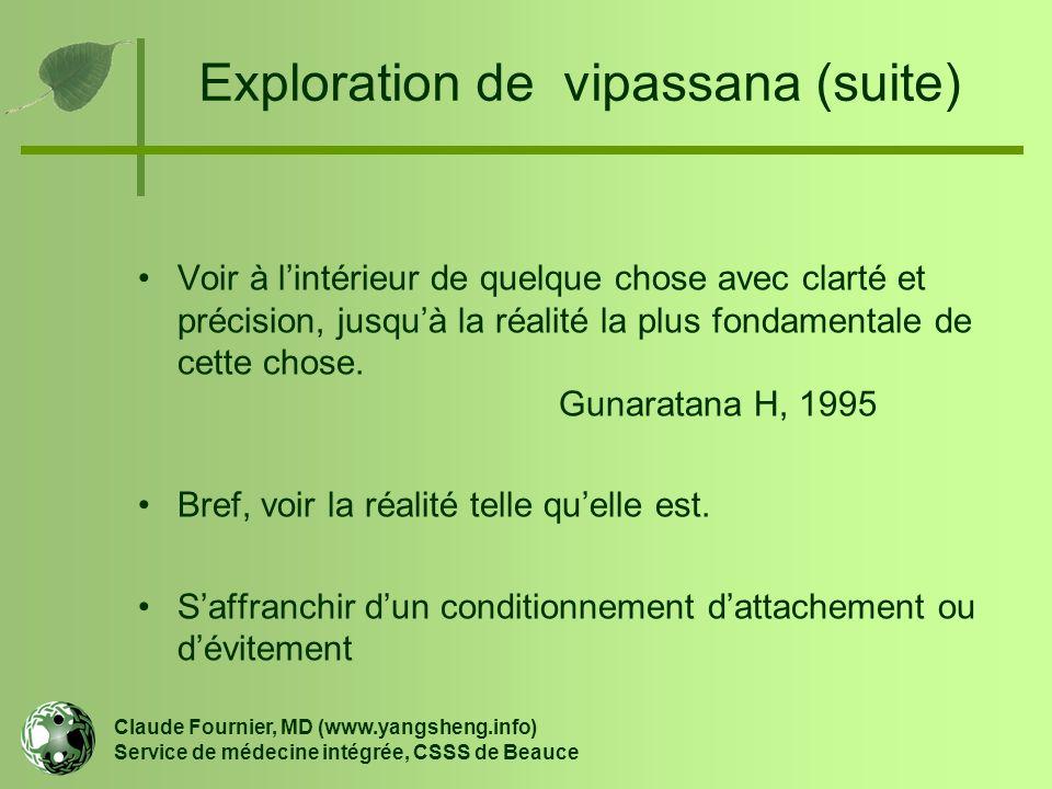 Exploration de vipassana (suite) Claude Fournier, MD (www.yangsheng.info) Service de médecine intégrée, CSSS de Beauce Voir à l'intérieur de quelque c