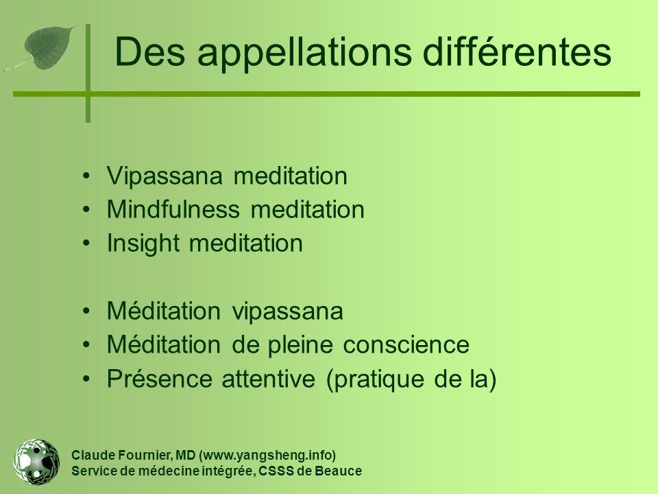 Des appellations différentes Claude Fournier, MD (www.yangsheng.info) Service de médecine intégrée, CSSS de Beauce Vipassana meditation Mindfulness me