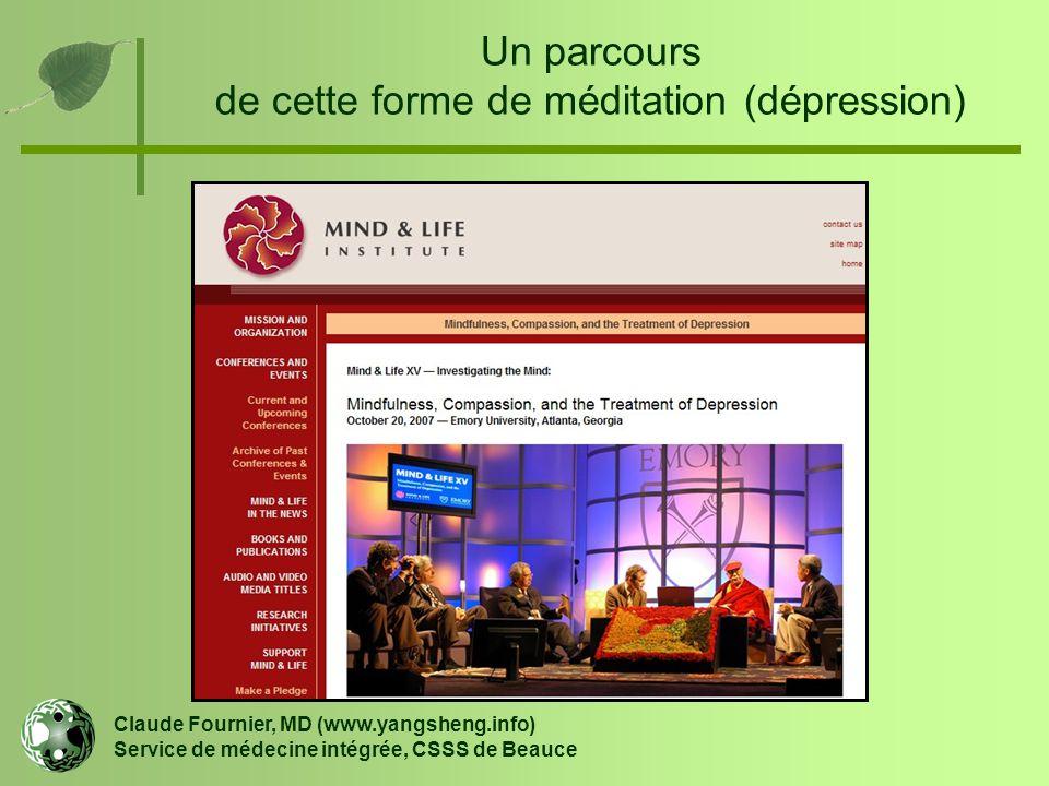Un parcours de cette forme de méditation (dépression) Claude Fournier, MD (www.yangsheng.info) Service de médecine intégrée, CSSS de Beauce