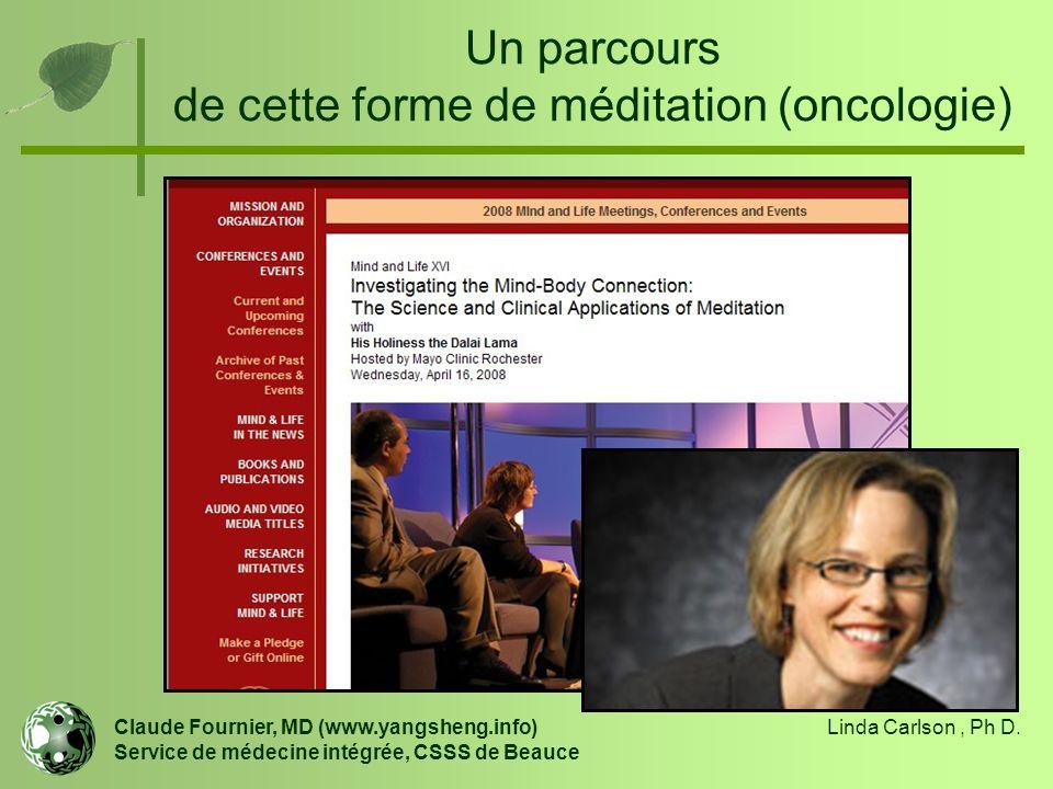 Un parcours de cette forme de méditation (oncologie) Claude Fournier, MD (www.yangsheng.info) Service de médecine intégrée, CSSS de Beauce Linda Carls
